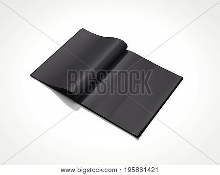 Blank black magazine isolated on bright background. 3d rendering
