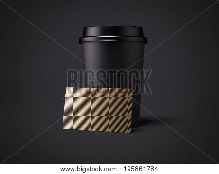 Black cup with golden business card isolated on dark background. 3d rendering