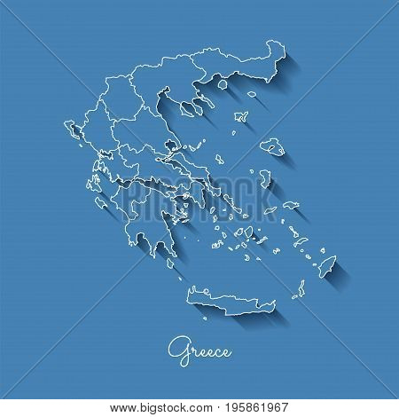 Greece Region Map: Blue With White Outline And Shadow On Blue Background. Detailed Map Of Greece Reg