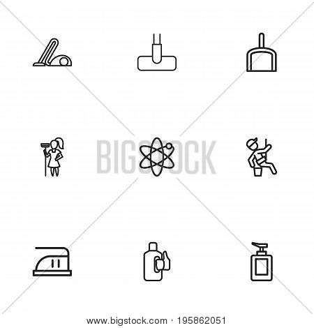 Set Of 9 Editable Hygiene Outline Icons. Includes Symbols Such As Bleach, Sweeper, Hoover And More