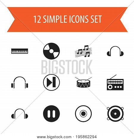Set Of 12 Editable Audio Icons. Includes Symbols Such As Musical Sign, Disc, Cd And More