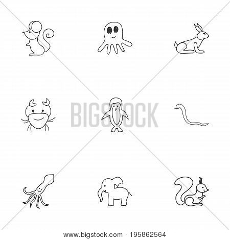 Set Of 9 Editable Animal Doodles. Includes Symbols Such As Serpent, Elephant, Rat And More