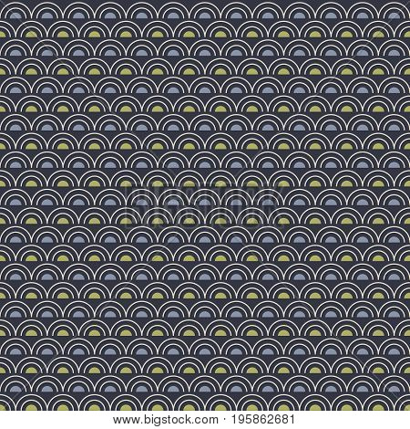 Abstract seamless pattern with regular white arcs and blue and green semicircles on dark blue background