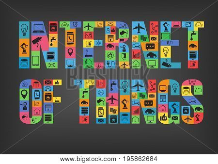 Colorful internet of things characters spelling word with icons