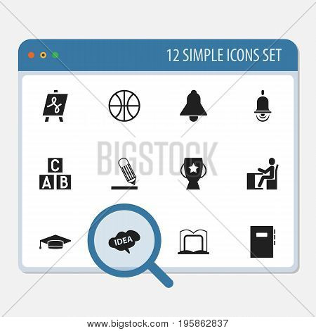 Set Of 12 Editable Science Icons. Includes Symbols Such As Tabulation, Goblet, Bell And More