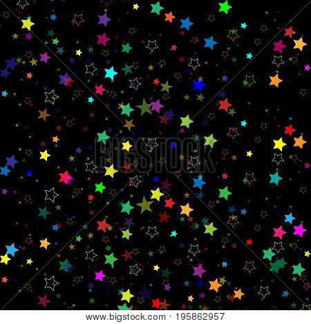 Stars isolated on background. Confetti celebration. Falling stars abstract decoration for party, birthday celebrate, anniversary or event, festive. Festival decor. Vector illustration