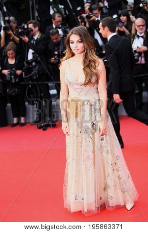 CANNES, FRANCE - MAY 18, 2017: Thylane Blondeau attends the 'Loveless (Nelyubov)' screening during the 70th annual Cannes Film Festival
