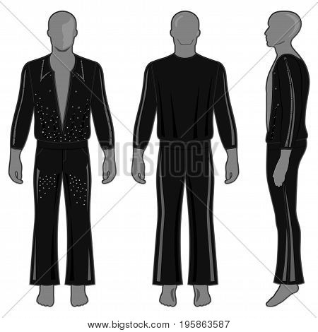 Man's silhouette in black decorated costume: long sleeve t-shirt outlined and flare pants (front side & back view). Vector illustration isolated on white background