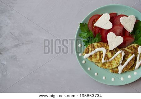 Plate with vegetarian food with empty space for text