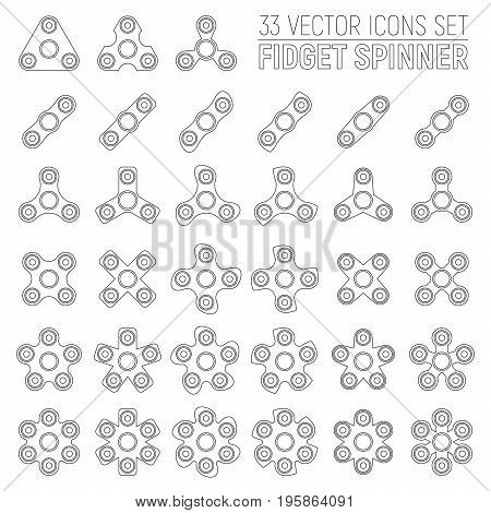 33 Flat Outline Vector Icons of Different Fidget Spinners on White Background. Trendy Toy For Stress Relief and Improvement of Attention Span. Antistress Widget Graphical Illustration