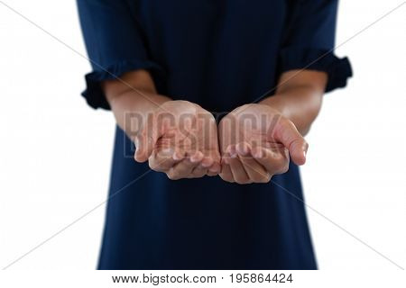 Mid section of helpless female executive showing his hands