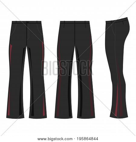 Man outlined dark template skinny flare pants (front side & back view) vector illustration isolated on white background