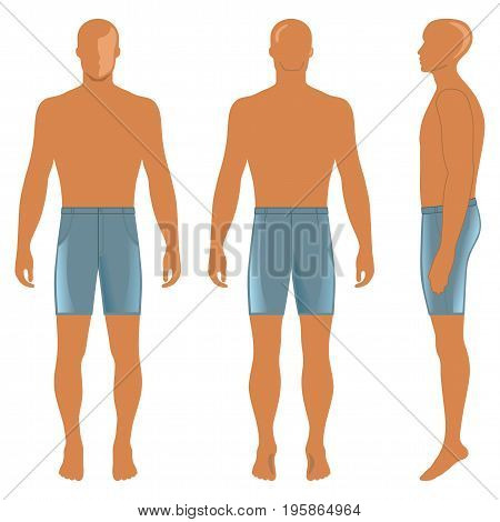 Man's silhouette in briefs (front side & back view). Vector illustration isolated on white background