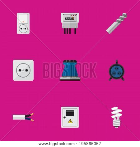 Set Of 9 Editable Electric Flat Icons. Includes Symbols Such As Cable, Receptacle, Panel And More