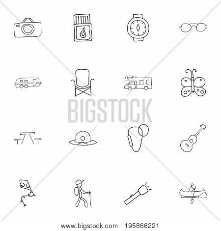 Set Of 16 Editable Camping Doodles. Includes Symbols Such As Picnic, Beach Hat, Musical Instrument And More