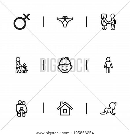 Set Of 9 Editable Kin Outline Icons. Includes Symbols Such As Friends, Son, Female Sign And More