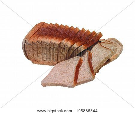 SLICED WHOLE WHEAT BREAD, ISOLATED ON A WHITE BACKGROUND