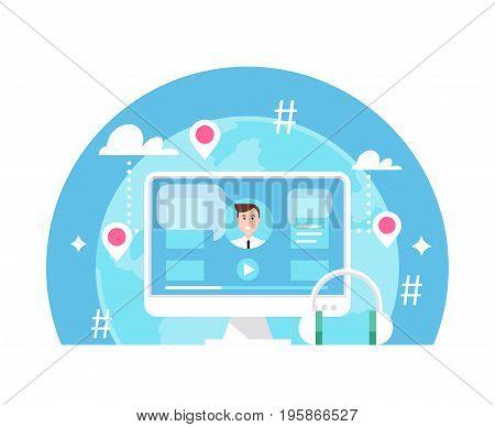 Online Event, E-Learning or Webinar Flat Vector Illustation