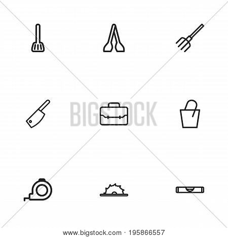 Set Of 9 Editable Tools Outline Icons. Includes Symbols Such As Pitchfork, Roll Meter, Portfolio And More