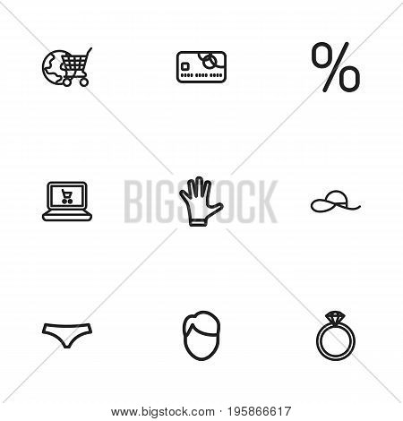 Set Of 9 Editable Business Outline Icons. Includes Symbols Such As Lingerie, Jewel, Percent And More
