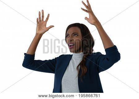 Close up of irritated businesswoman with hands on hip against white background