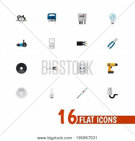 Set Of 16 Editable Electrical Flat Icons. Includes Symbols Such As Nipper, Turn-Screw, Wire And More