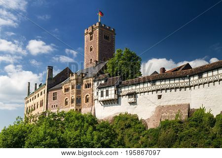 Panorama of the famous Wartburg - a world heritage site Thuringia Germany