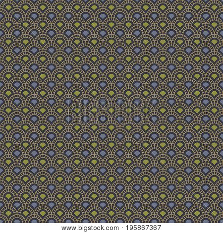 Abstract seamless pattern with dark beige arcs and blue and green shapes on dark blue background