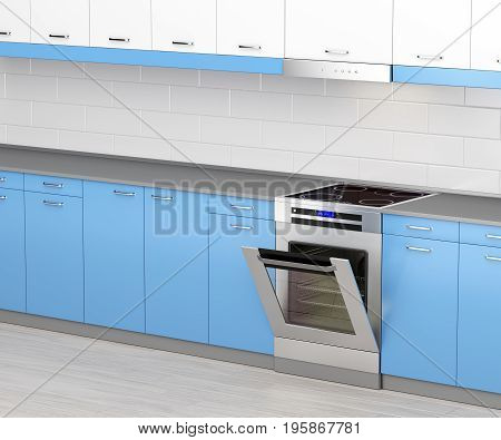 Electric cooker with induction cooktop and range hood in the kitchen, 3D illustration