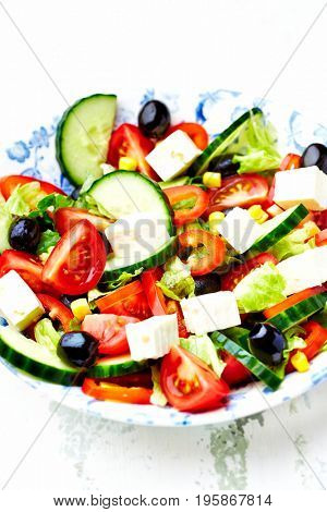 Mediterranean-Style Salad with Olives and Feta Cheese