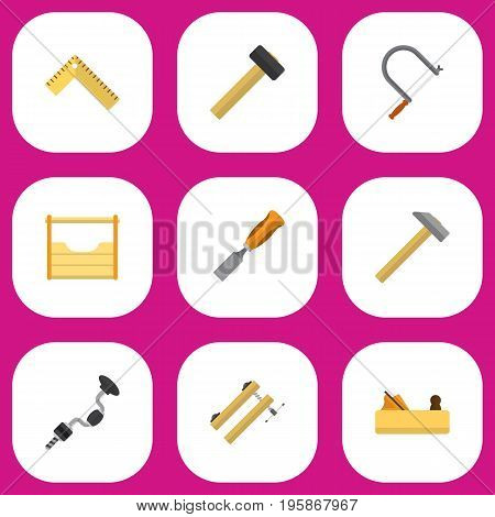Set Of 9 Editable Tools Flat Icons. Includes Symbols Such As Clamp, Instruments, Bit And More