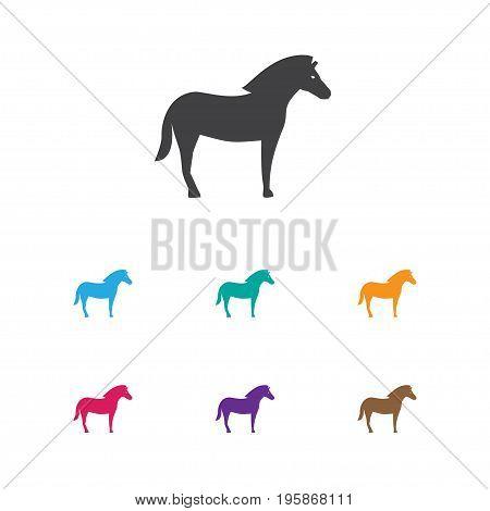 Vector Illustration Of Zoology Symbol On Stallion Icon