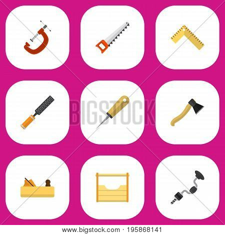 Set Of 9 Editable Tools Flat Icons. Includes Symbols Such As Clinch, Bodkin, Instruments And More