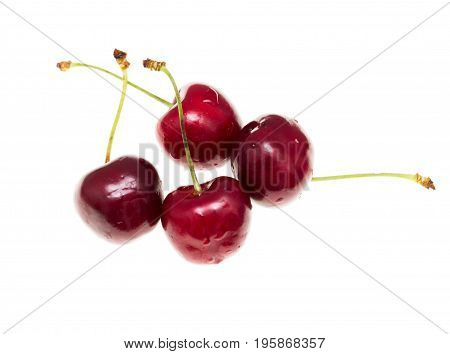 Juicy red cherry on a white background .