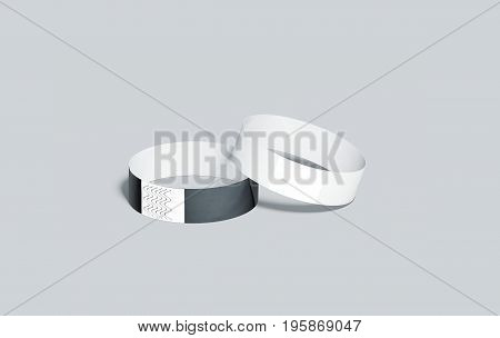 Blank black and white paper wristbands mockups 3d rendering. Empty event wrist bands design mock up. Cheap hand bracelets template isolated. Clear bangle wristlet set with sticker. Concert armlets