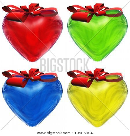 High resolution 3D red, green, yellow and blue  glass hearts isolated on white background with red ribbons