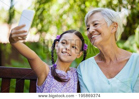 Smiling girl taking selfie with grandmother at backyard