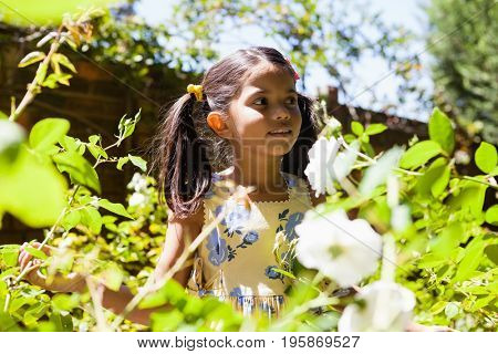 Girl standing amidst plants in garden on sunny day