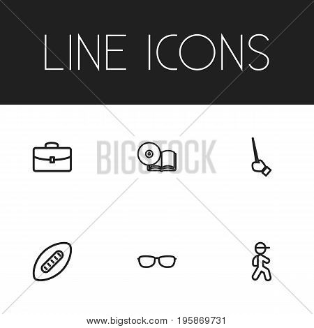 Set Of 6 Editable Teach Outline Icons. Includes Symbols Such As Goggles, Case, Hand