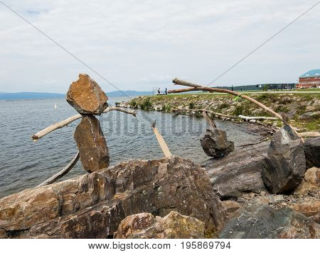Outdor Art branches and rocks by lake Champlain
