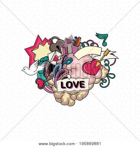 Love and heart. Abstract composition for couple and relationships. Heart design elements. I love you. Valentine s Day, wedding, mother day, birthday.