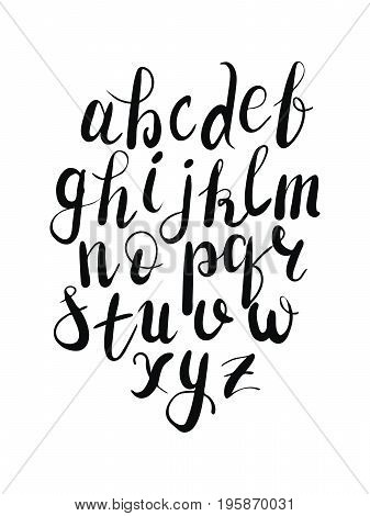 Vector hand lettering calligraphy alphabet in black color on isolated white background