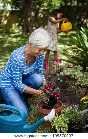 Smiling senior woman planting flowers while girl watering plants at backyard
