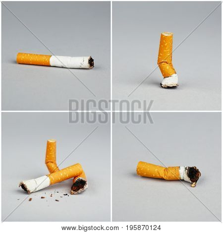 Collage of cigarette butts on grey background