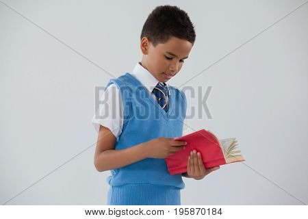 Attentive schoolboy reading book against white background
