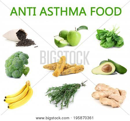 Text ANTI ASTHMA FOOD and collage of healthy products on white background