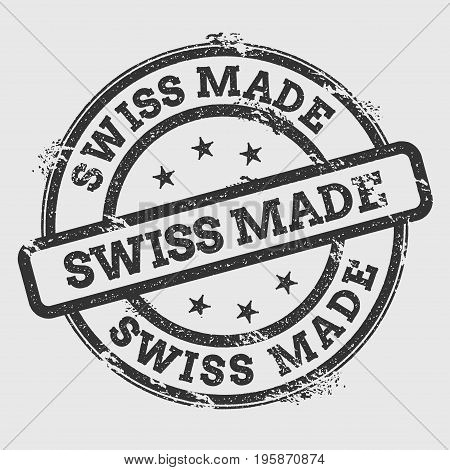 Swiss Made Rubber Stamp Isolated On White Background. Grunge Round Seal With Text, Ink Texture And S