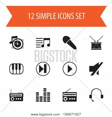 Set Of 12 Editable Song Icons. Includes Symbols Such As Bar Wave, Call Center, Timpano And More