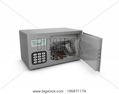 3D Illustration Of Open Safe Door With Gun And Bullets