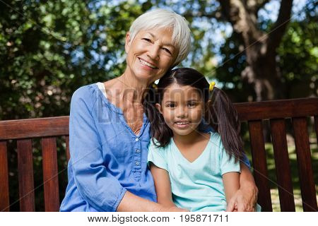 Portrait of smiling girl and grandmother sitting on wooden bench at backyard